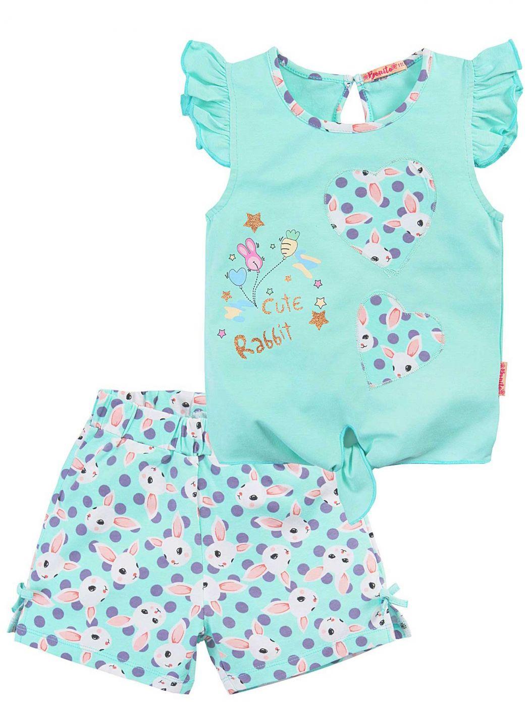 Летний костюм для девочек Bonito бирюзовый зайки