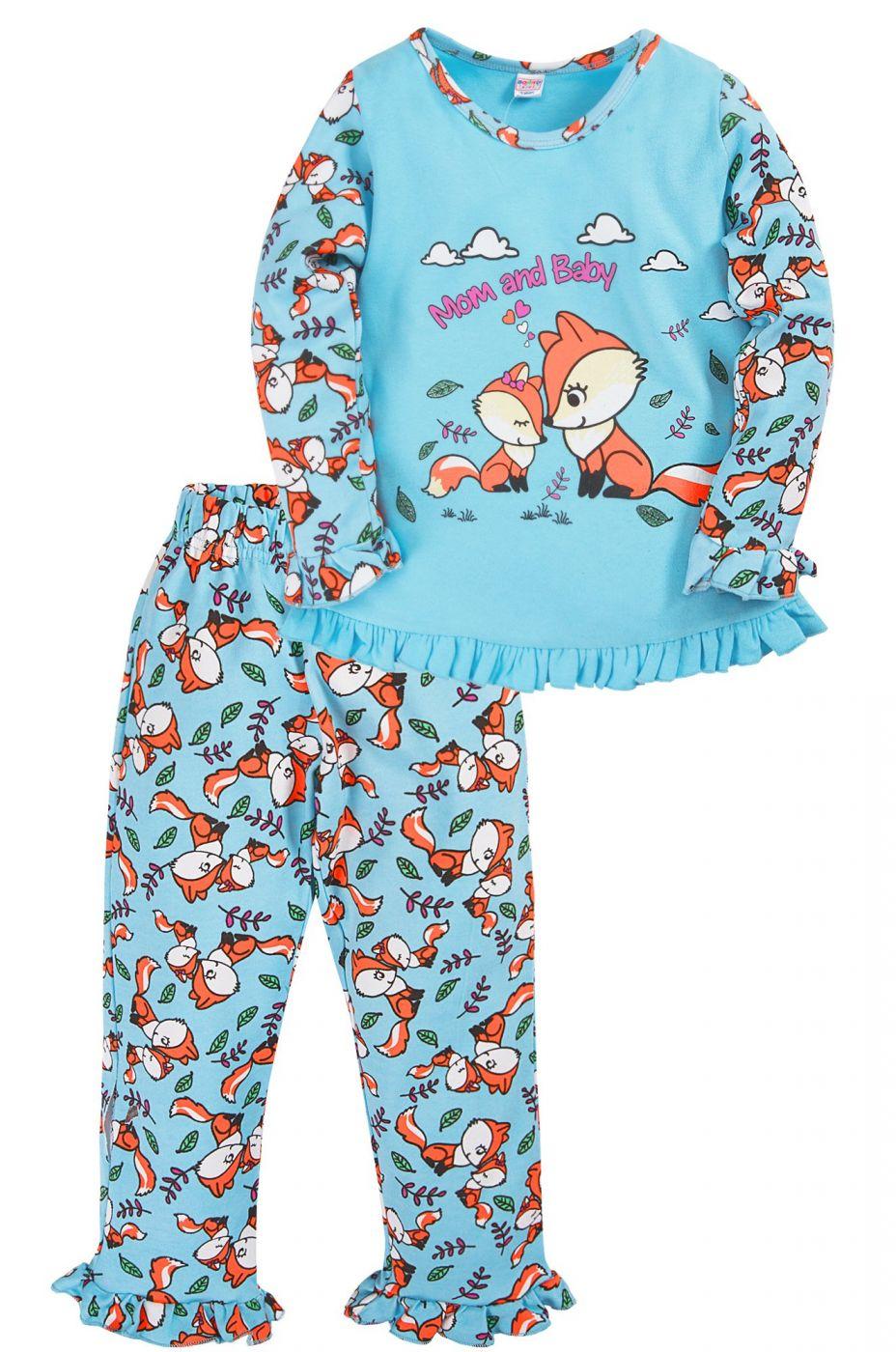 Пижама для девочки Bonito голубая с лисятами