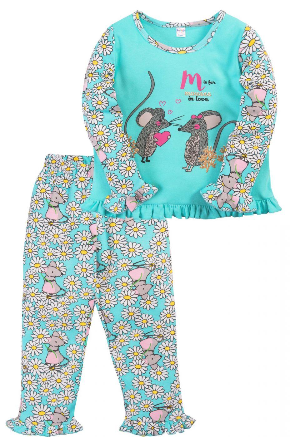 Пижама для девочки Bonito бирюзовая с мышатами