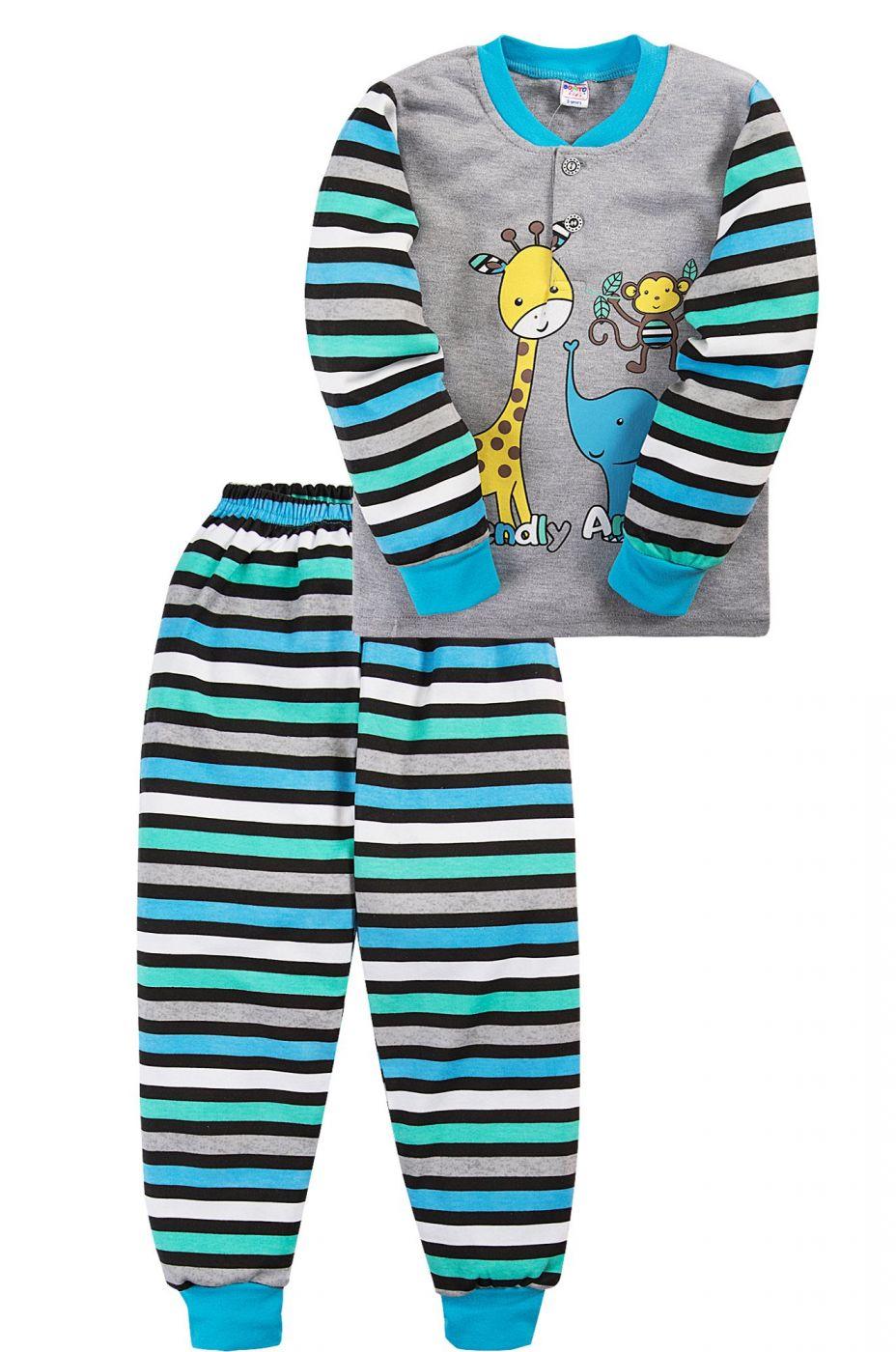 Пижама для мальчика Bonito серая в полоску Animals