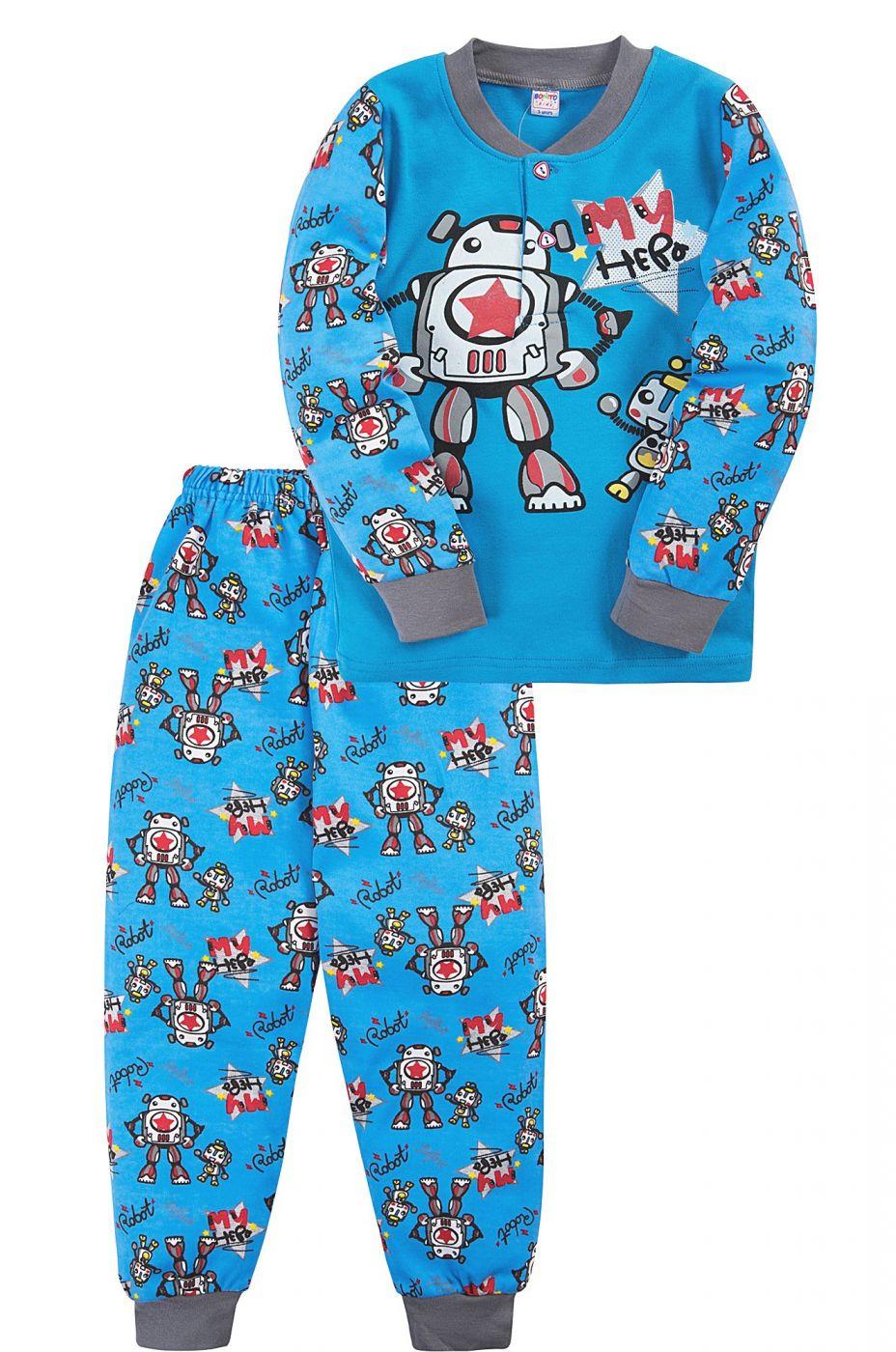 Пижама для мальчика Bonito голубая с роботами