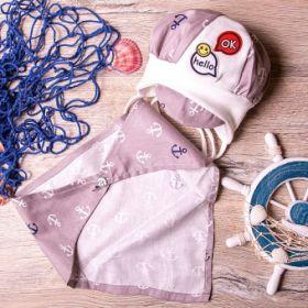 РБ Шапка с завязками, с козырьком, со смайликом+снуд треугольный на кнопке, серый с белым