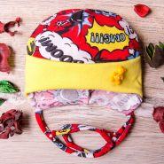 РБ Шапка трикотажная на завязках Бум, со значком и отворотом, желто-красная