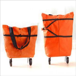 Складная сумка на колесиках, Цвет: Оранжевый