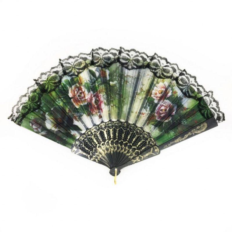 Складной Веер С Цветочным Рисунком И Пластиковым Основанием, 25 См, Оттенок Зеленый