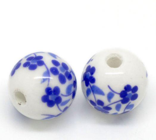 Бусины керамические, 12 мм, Синий узор, 2 шт/упак