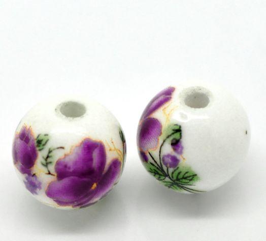 Бусины керамические, 12 мм, Фиолетовый узор, 2 шт/упак