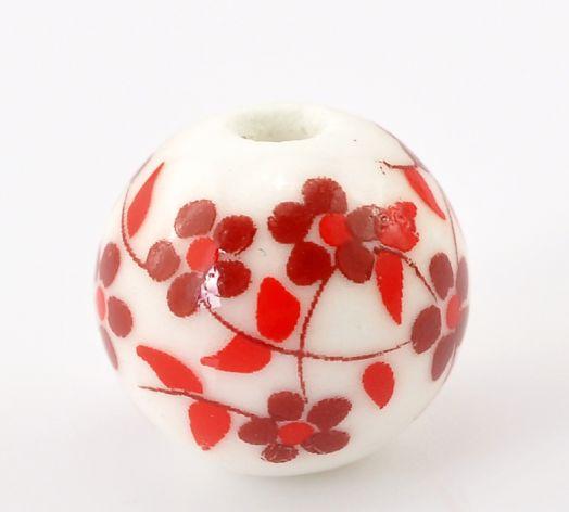 Бусины керамические, 12 мм, Красный узор, 2 шт/упак