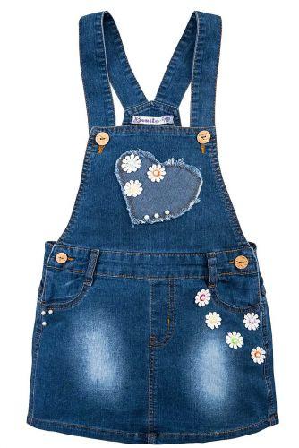 Сарафан джинсовый для девочки 3-7 лет Bonito с цветочками