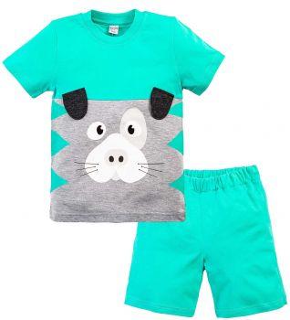 Костюм для мальчика 1-4 лет Bonito зеленый с мордочка собаки