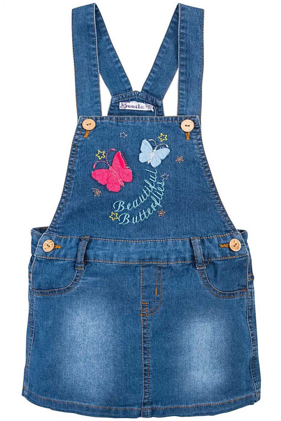 Сарафан джинсовый для девочки Bonito Jeans с бабочками