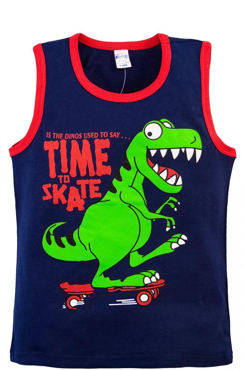 Майка для мальчиков Bonito темно-синяя с динозавром