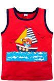 Майка для мальчиков Bonito красная с корабликом