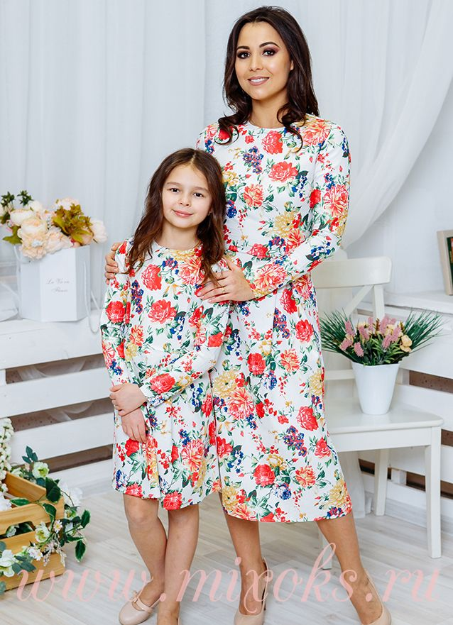 Платья миди для мамы и дочки