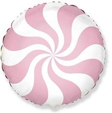 Круг леденец розовый шар фольгированный с гелием