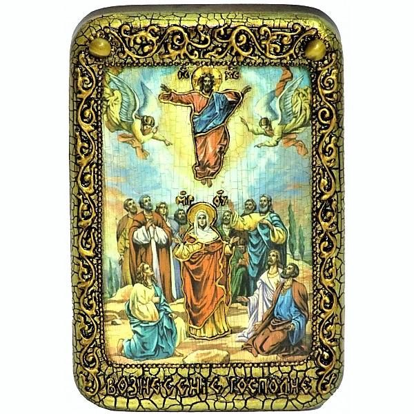 Инкрустированная настольная икона Вознесение Господне (10*15 см, Россия) на натуральном мореном дубе, в подарочной коробке