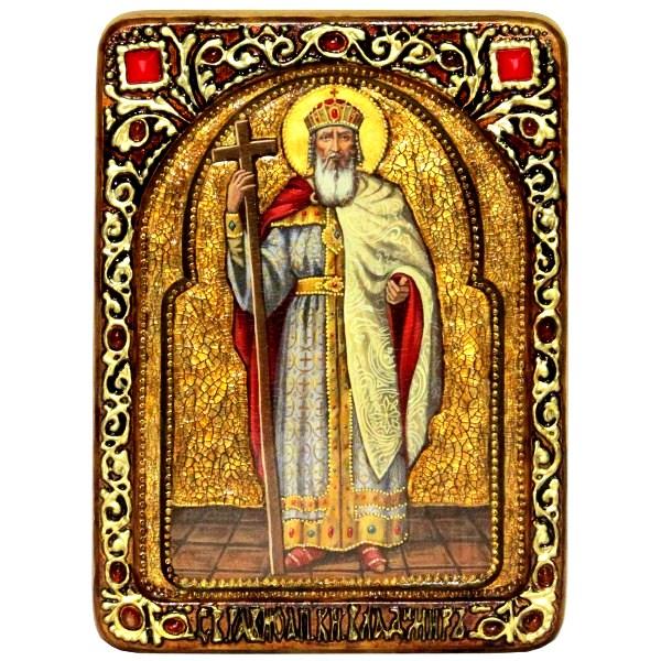 Инкрустированная живописная икона Святой равноапостольный князь Владимир (21*29 см, Россия) на сакральном кипарисе в подарочной коробке