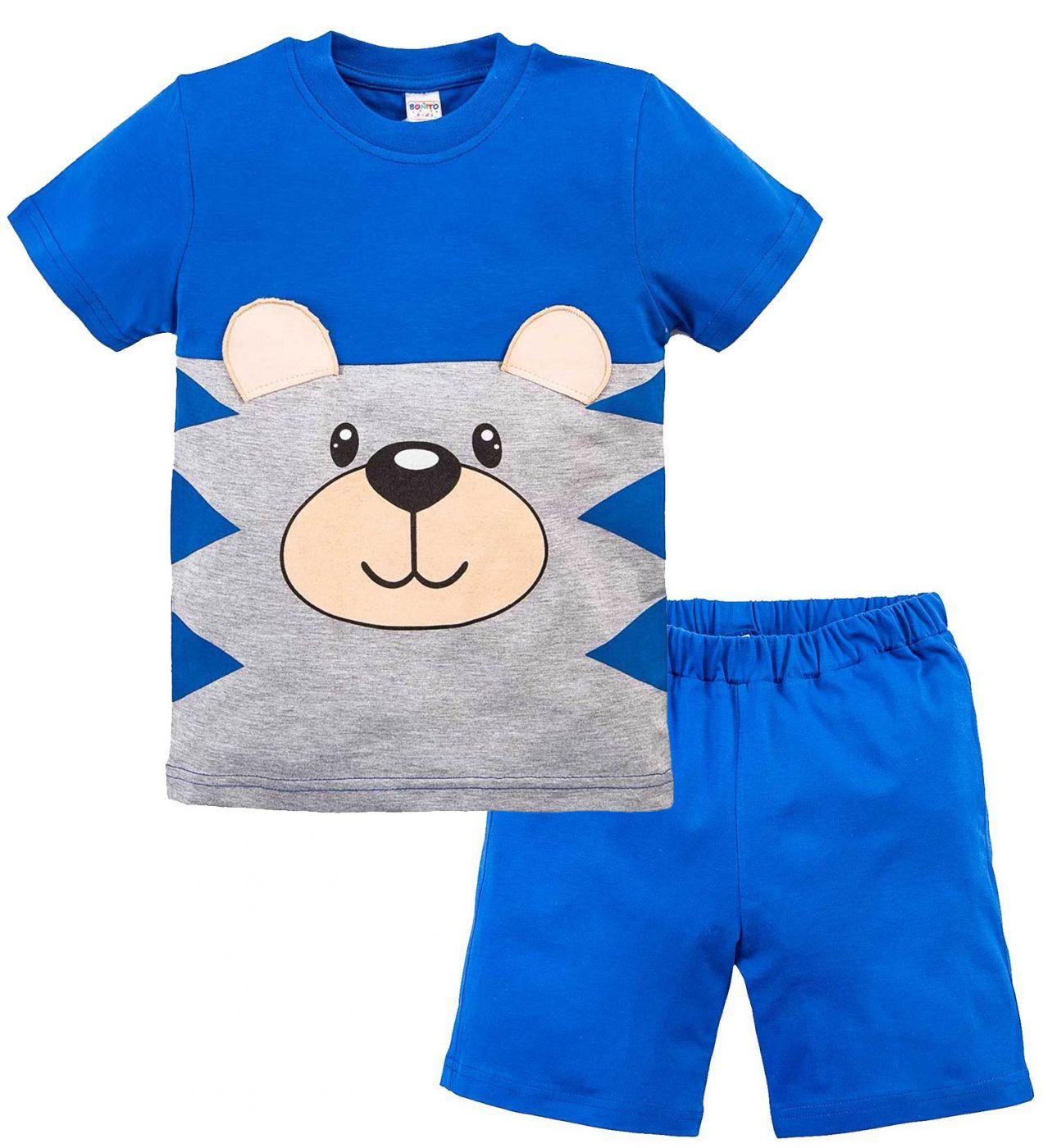 Костюм для мальчика Bonito синий с мордочкой мишки