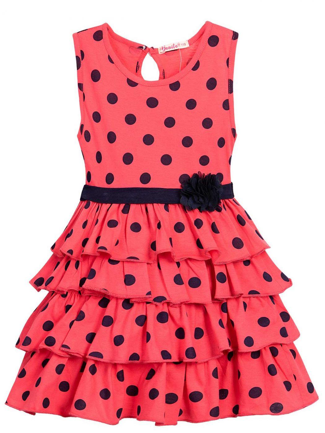 Платье на девочки Bonito малиновое в горошек