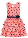 Платье на девочки Bonito коралловое  в горошек