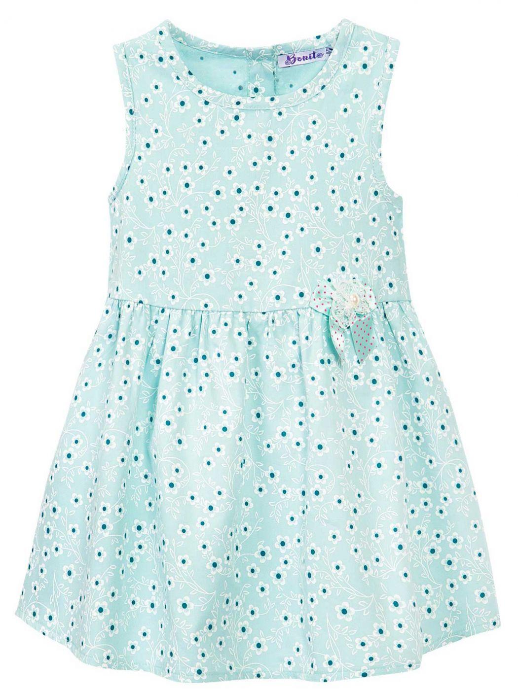 Сатиновое платье на девочки Bonito ментоловое в цветочек