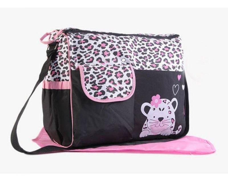 Многофункциональная сумка для мам с пеленкой Зверята, 39х15х32 см, цвет розовый