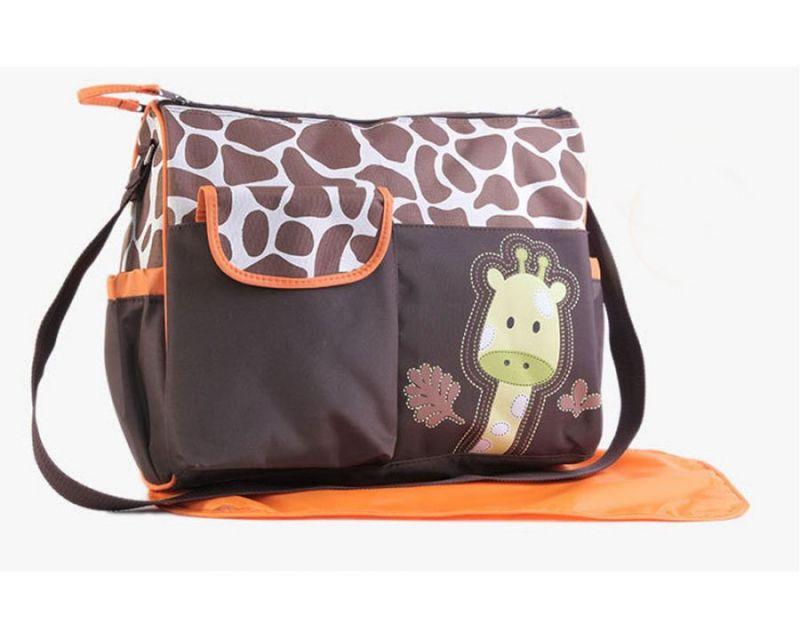 Многофункциональная сумка для мам с пеленкой Зверята, 39х15х32 см, цвет оранжевый