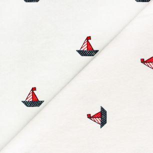 Лоскут трикотажной ткани Кораблики на белом