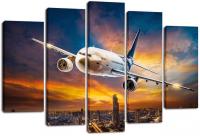 Модульная картина  Самолет в пике