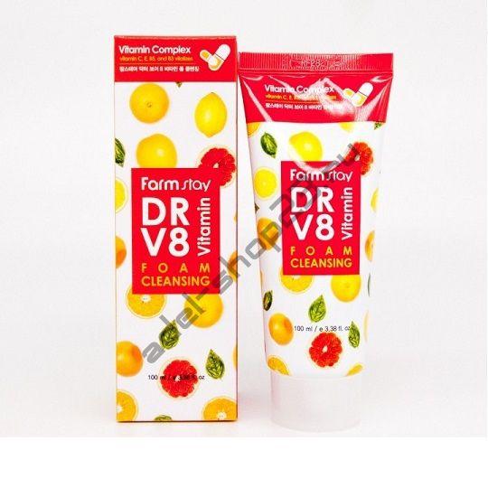 FARMSTAY - Витаминная пенка для очищения кожи DR.V8 Vitamin Foam Cleansing