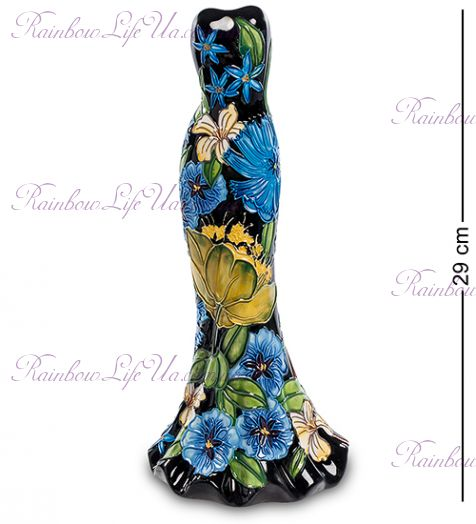 "Ваза дамское платье Black flowers ""Pavone"""
