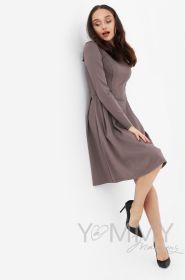 Платье с секретом на молниях, юбка со складками капучино Артикул 366.2.4