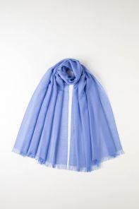 легкий тонкорунный экстра широкий шарф, васильковый цвет, CORNFLOWER BLUE Merino Tartan 100% шерсть мериноса,   плотность 2