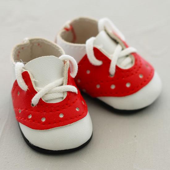 Обувь для кукол - мокасины 5 см (красно-белые)