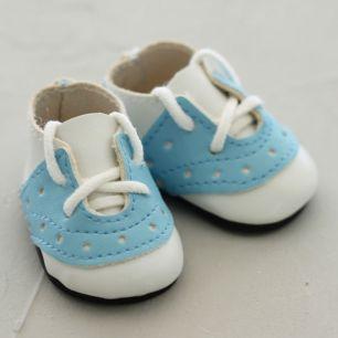 Обувь для кукол - мокасины 5 см (бело-голубые)