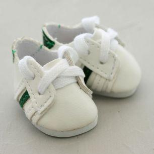 Обувь для кукол - кроссовки 4,5 см (белые с зелеными полосками)