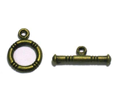 Замок-тоггл, полоски, бронза, D-12 мм, 3 шт/упак