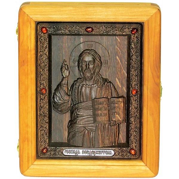 резная икона в подарок отцу Господь Вседержитель на натуральном мореном дубе, инкрустированная янтарем (18*23 см, Россия)