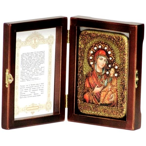 Инкрустированная настольная икона Божией Матери Иверская (10*15 см, Россия) на натуральном мореном дубе, в подарочной коробке