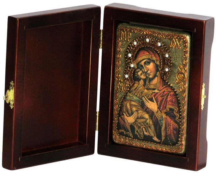 Инкрустированная настольная икона Божией Матери Владимирской (10*15 см, Россия) на натуральном мореном дубе, в подарочной коробке
