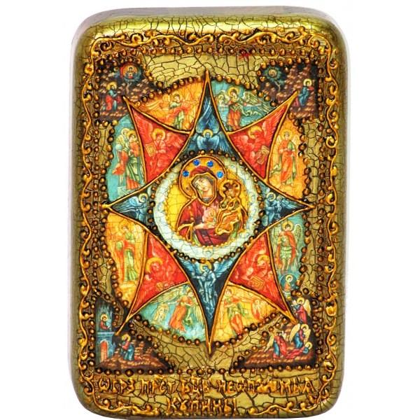 Настольная икона Божией Матери Неопалимая купина (10*15 см, Россия) на натуральном мореном дубе, в подарочной коробке