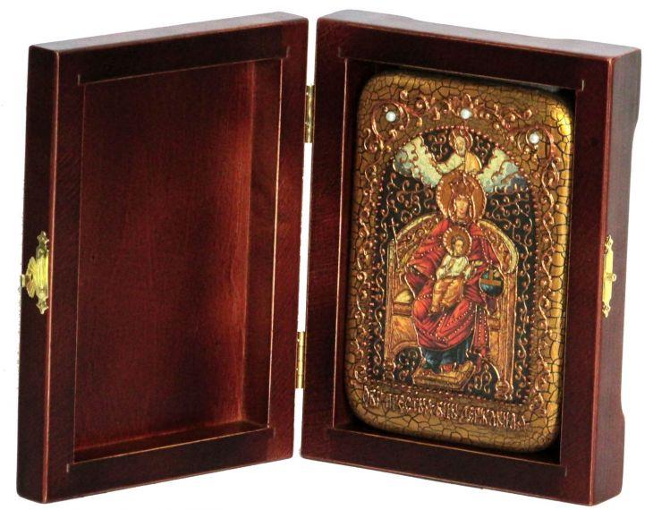 Инкрустированная настольная икона Божией Матери Державная (10*15 см, Россия) на натуральном мореном дубе, в подарочной коробке