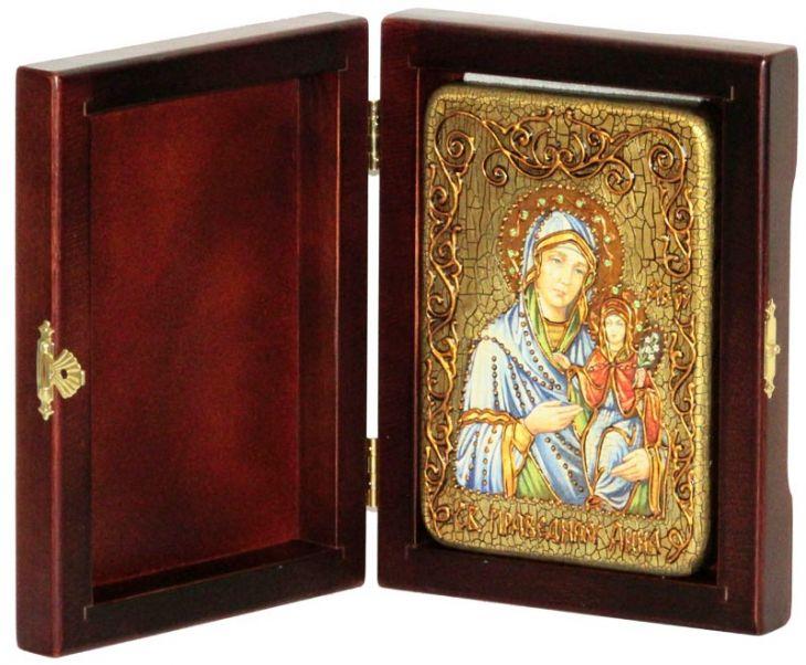 Инкрустированная настольная икона Святая праведная Анна, мать Пресвятой Богородицы (10*15 см, Россия) на натуральном мореном дубе, в подарочной коробке