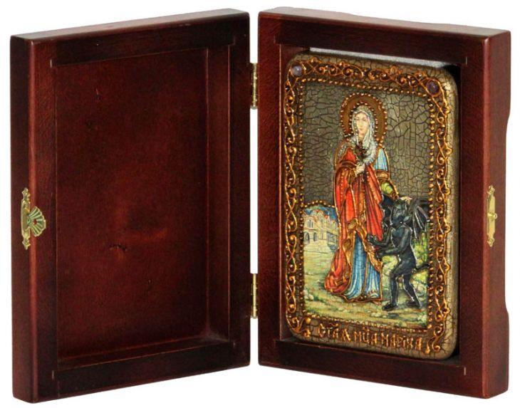 Инкрустированная настольная икона Святая великомученица Марина (Маргарита) Антиохийская (10*15 см, Россия) на натуральном мореном дубе, в подарочной коробке
