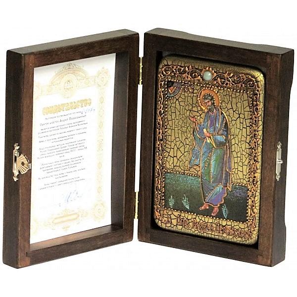 Инкрустированная настольная икона Святой апостол Андрей Первозванный (10*15 см, Россия) на натуральном мореном дубе, в подарочной коробке