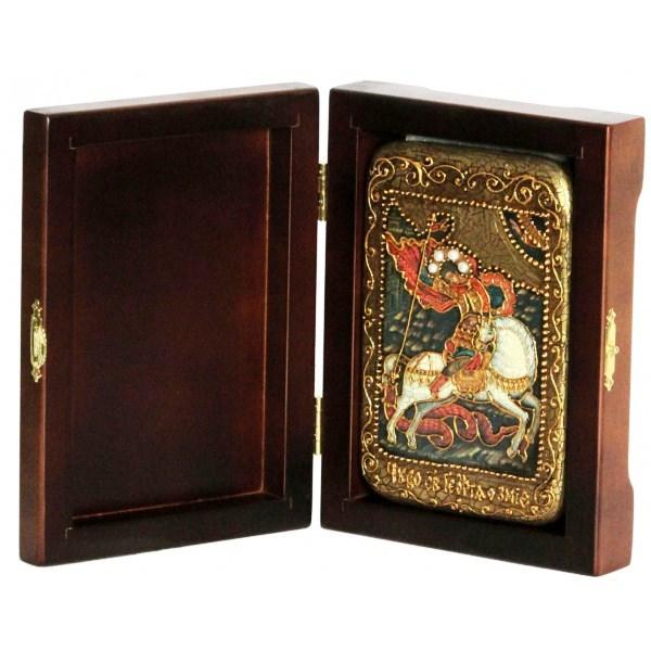 Инкрустированная настольная икона Чудо святого Георгия о змие (10*15 см, Россия) на натуральном мореном дубе, в подарочной коробке