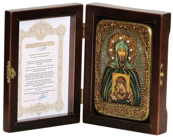 Инкрустированная икона Святой князь Игорь (10*15 см, Россия) на натуральном мореном дубе, в подарочной коробке
