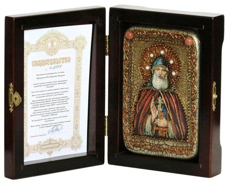 Инкрустированная настольная икона Преподобный Илия Муромец, Печерский (10*15 см, Россия) на натуральном мореном дубе, в подарочной коробке