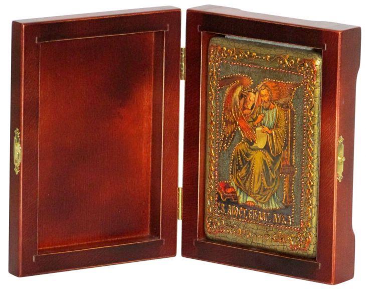 Инкрустированная настольная икона Святой апостол и евангелист Лука (10*15 см, Россия) на натуральном мореном дубе, в подарочной коробке