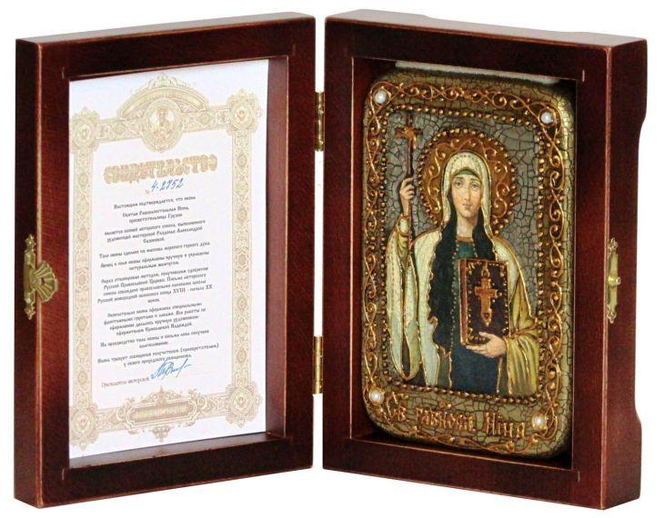 Инкрустированная настольная икона Святая Равноапостольная Нина, просветительница Грузии (10*15 см, Россия) на натуральном мореном дубе, в подарочной коробке